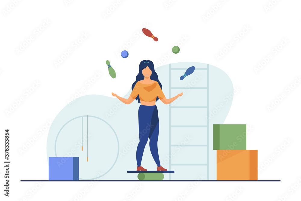 Fototapeta Woman balancing and juggling with skittles and balls. Gym, circus, juggler flat vector illustration. Performance and training concept for banner, website design or landing web page