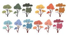 A Set Of Trees In Different Seasons.Four Seasons. Trees At Different Time Of The Year - Winter Spring, Summer, Autumn.