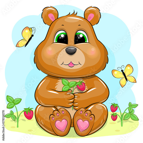 Cute cartoon bear with berries and butterflies. Vector illustration of animal on the blue background. #378334278