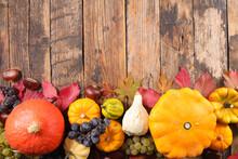 Variety Of Pumpkin, Squash And Autumn Leaf Decoration