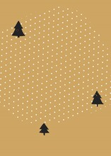 Hand Drawn Vector Abstract Textured Christmas Card Wiht Christmas Trees Isolated On Polka Dots Textured Background.Design For Greeting Card,save Tha Date,journaling,postcard,tag,poster,flayer,note