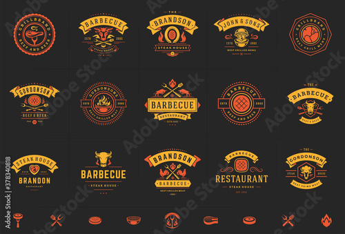 Fototapeta Grill and barbecue logos set vector illustration steak house or restaurant menu badges with bbq food silhouettes obraz