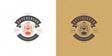 Butcher Shop Logo Vector Illustration Chef Holding Knifes Silhouette Good For Farmer Or Restaurant Badge