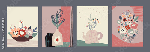 Fototapeta Set of vector colorful collage contemporary cards or posters. Autumn nature collection. obraz