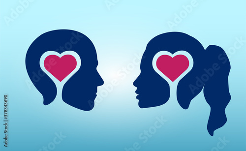 Foto Vector of a couple in love male and female head silhouettes with red heart insid