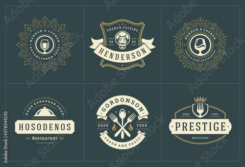 Fotografiet Restaurant logos templates set vector illustration good for menu labels and cafe