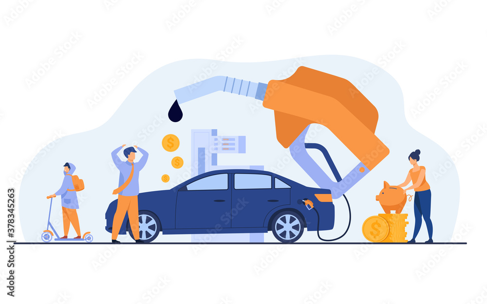 Fototapeta High price for car fuel concept. People wasting money for gasoline, changing car for scooter, saving cash. Flat vector illustration for economy, refueling, city transport concept