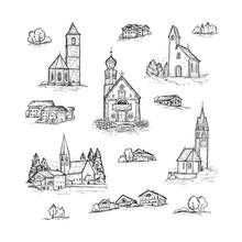 Italy, Europe. South Tyrol. Dolomites. Santa Maddalena. San Giovanni. Santa Barbara Chapel. San Maurizio Chapel. Sketch Vector Set Of Hand Drawn Churches And Village Houses.