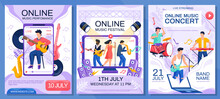 Concert Posters Set. Online Concert Of Famous Musicians And Singers Event Poster. Music Performance Festival Advertising Banner. Artists On Phone Screen Guitarist Singer And Musical Instruments Scenes