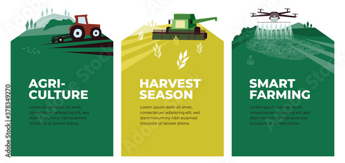 Set of vectors with agriculture, harvest, smart farming. Illustrations of plowing tractor in field, combine harvester, drone in farm land. Landscape scenes. Agricultural banners. Design poster, flyer