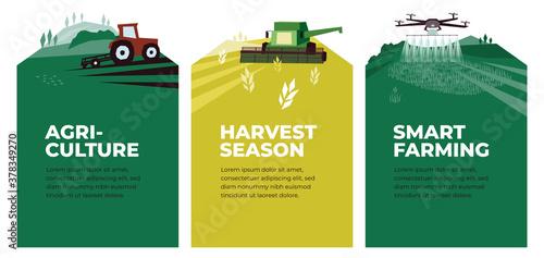 Set of vectors with agriculture, harvest, smart farming Fototapete