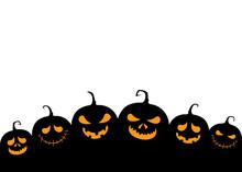 Halloween Pumpkins. Funny Evil Jack-o-lantern Silhouettes. Vector Illustration