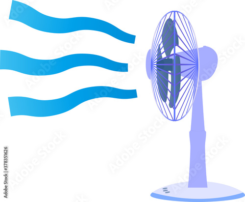 Fototapeta 冷たい風をおくる横からみた扇風機のイラスト