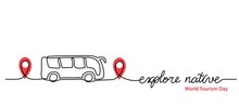 Local Tourism Simple Web Banner ,background, Poster With Pinpoint Icon And Bus. Vector Minimalist Background. One Continuous Line Drawing With Lettering Explore Native.