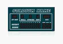 Electronic Baseball Scoreboard With Blank Home And Visitor Space. Vector Illustration On White
