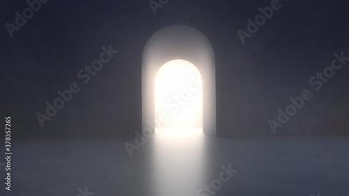 光に満ちたアーチ型の出口 3dcg Fototapet