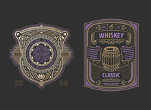 Two Stylish Vintage Whiskey Labels. Logo Template Design For Alcohol Bottle Or Can