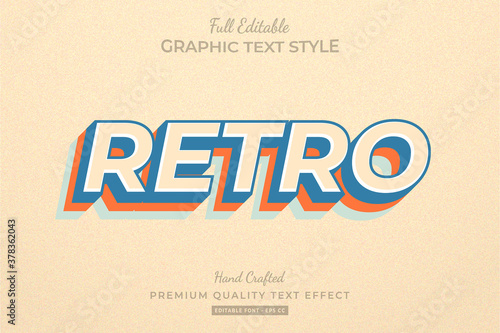 Fototapeta Retro Old Editable Custom Text Style Effect Premium obraz na płótnie