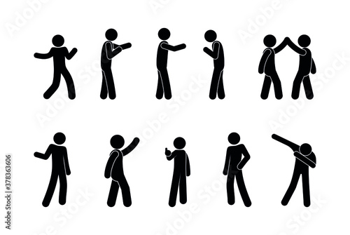 Obraz standing man illustration, people in various poses, stick figure pictograms set people isolated silhouettes - fototapety do salonu