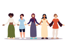 Group Of Women Together, Diversity Or Multicultural
