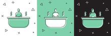 Set Bathtub Icon Isolated On W...