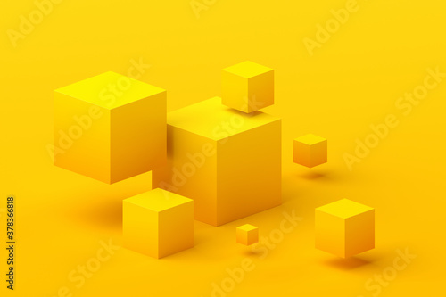 Abstract 3d render, geometric composition, yellow background design with cubes