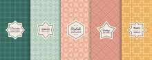 Vector Set Of Vintage Seamless Patterns. Elegant Retro Geometric Textures In Trendy Pastel Colors. Pattern Collection With Elegant Minimal Labels. Abstract Ornament Backgrounds. Design Collection