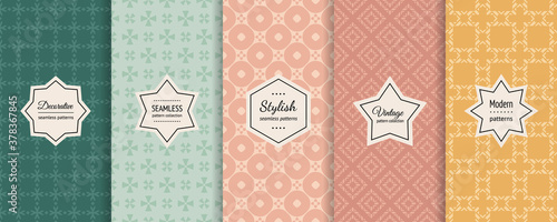 Fotomural Vector set of vintage seamless patterns