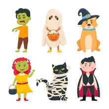 Set Of Children, Cat And Dog Characters In Halloween Costumes. Halloween Outfits Collection. Vector Cartoon Illustration.
