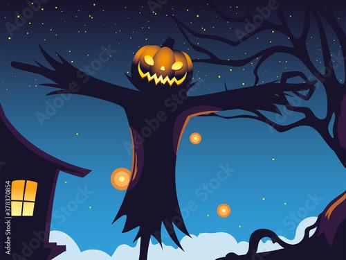 Fototapeta halloween dark night background with scarecrow