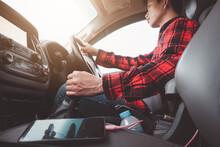 Car Driving Concept.Man Driver...