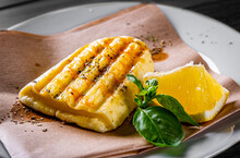 Halloumi Cheese Frying With Or...
