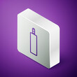 Isometric line Detonate dynamite bomb stick icon isolated on purple background. Time bomb - explosion danger concept. Silver square button. Vector.