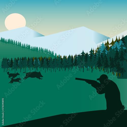 Obraz na plátně The dog chases the wild boar