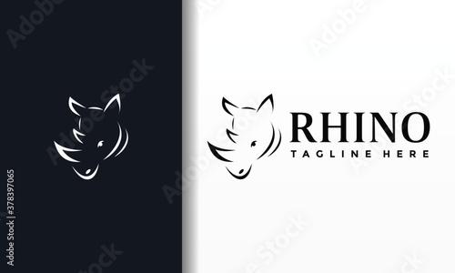 Photo simple line rhino logo