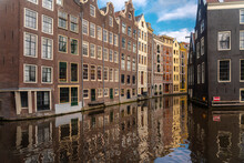 Netherlands, North Holland, Amsterdam, Historic Houses Along Canal In Binnenstad