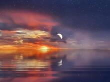 Moon And Starry Sky Night Dar...