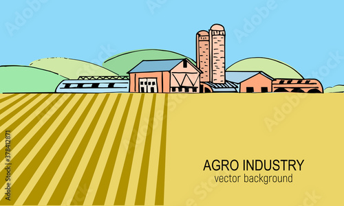 Photo Vector sketch illustration of an agricultural farm, agri business, with agricultural hangars, silo tower, cows on pasture
