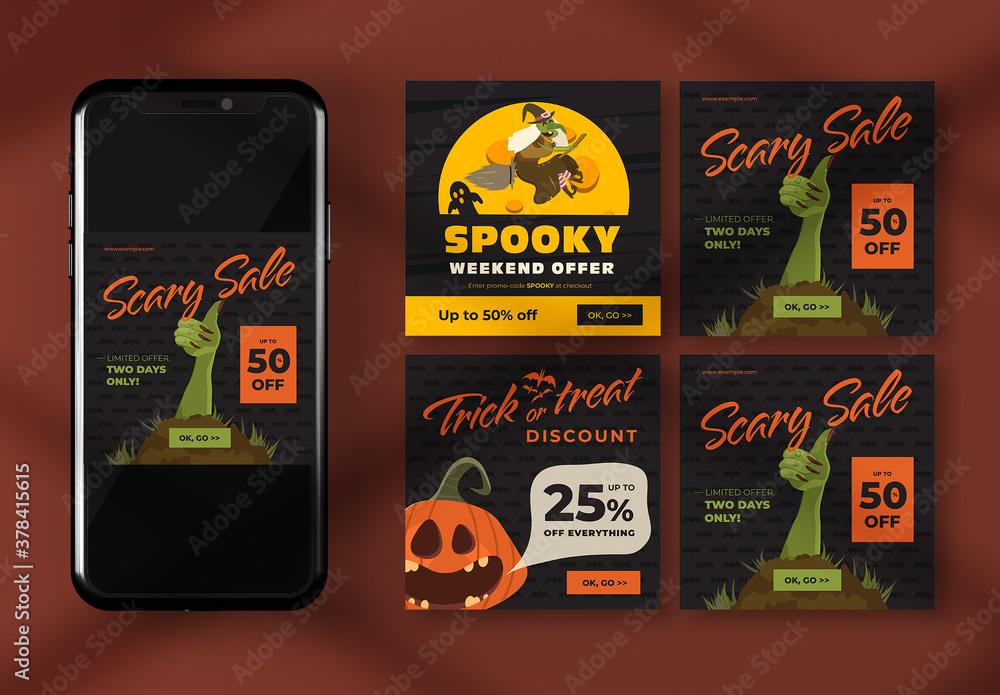 Fototapeta Halloween Social Media Banner Layouts