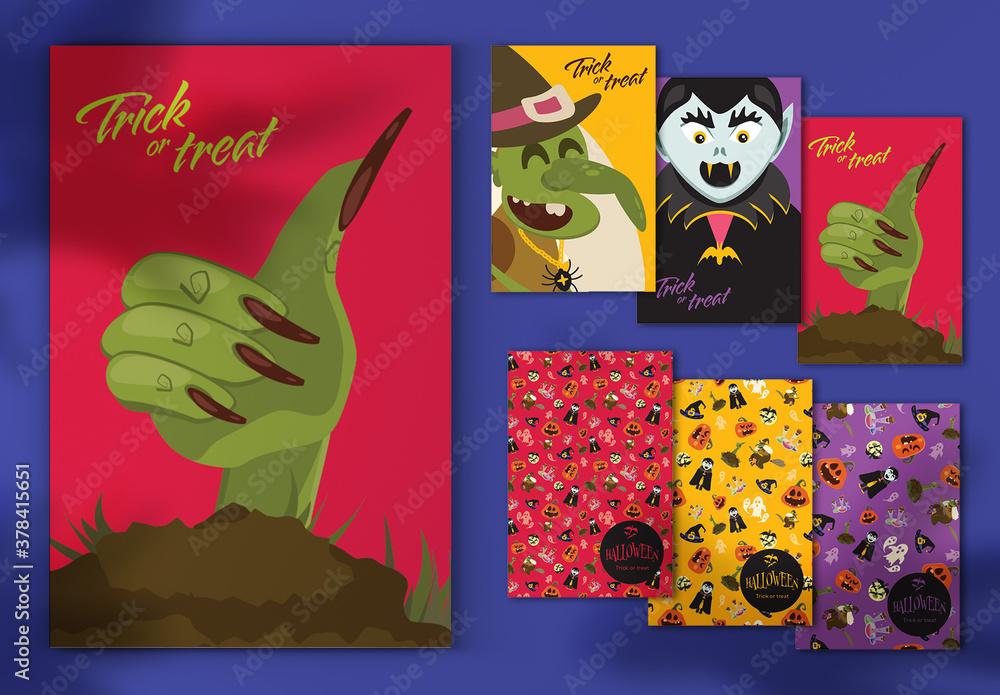 Fototapeta Halloween Postcard Layout