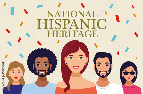 Fototapeta national hispanic heritage celebration lettering with people and confetti