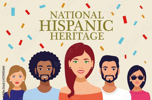 Obraz national hispanic heritage celebration lettering with people and confetti - fototapety do salonu