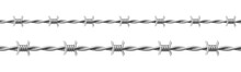 Steel Barbwire Set, Twisted Wire With Barbs Isolated On White Background. Vector Realistic Seamless Frame Of Metal Chain With Sharp Thorns For Prison Fence, Security Line, Military Boundary
