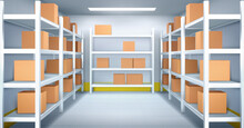 Cold Room In Warehouse With Cardboard Boxes On Racks. Vector Realistic Interior Of Industrial Storage With Shelves, Tiled Walls And Floor. Refrigerator Chamber In Factory, Store Or Restaurant