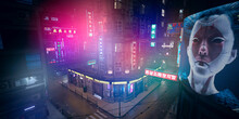 Beautiful Neon Night In A Cyberpunk City.  Huge Billboard With Head Of A Cyborg Girl. Photorealistic 3d Illustration Of The Futuristic City. Empty Street With Multicolored Neon Lights