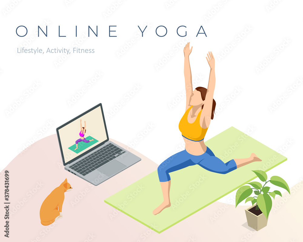 Fototapeta Isometric sporty young woman doing yoga practice. Fitness instructor taking online yoga classes over a video call in laptop. Healthy life concept.
