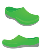 Green Clogs Shoes. Vector Illustration