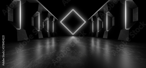 A dark corridor lit by white neon lights. Reflections on the floor and walls. 3d rendering image.