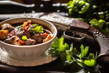 Deer Stew In A Bowl Hunting Weapon As A Decoration