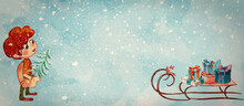 Christmas Time. Watercolor Banner With Boy